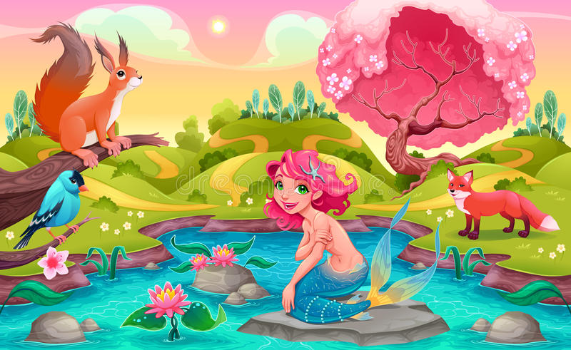 Fantasy scene with mermaid and animals stock illustration