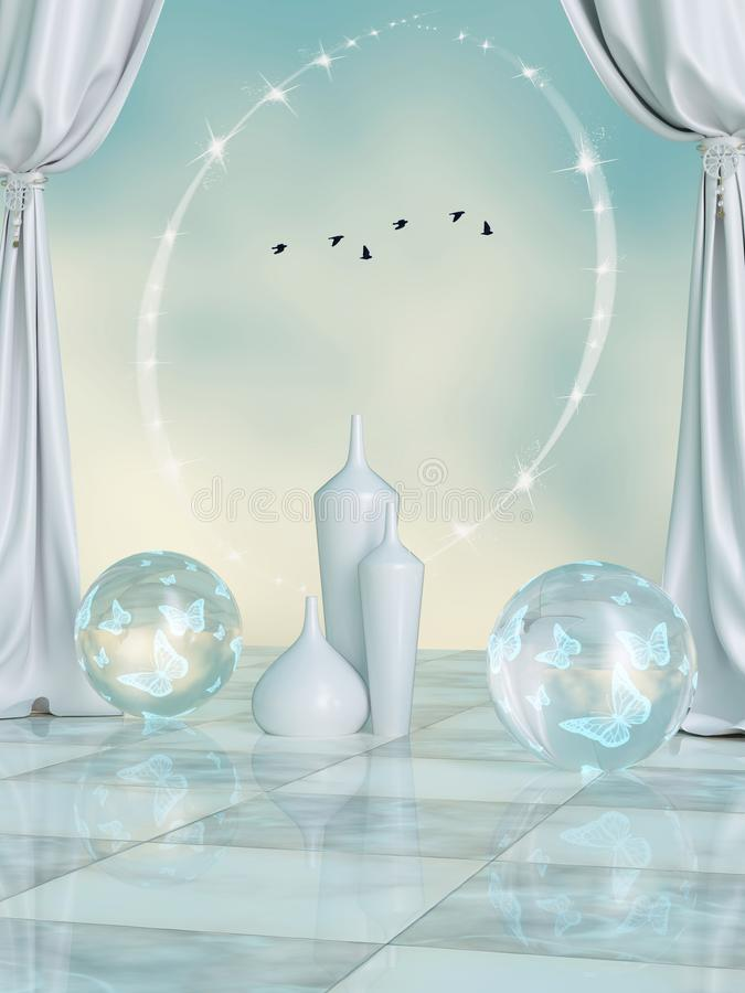 Fantasy scene with crystal balls royalty free stock images