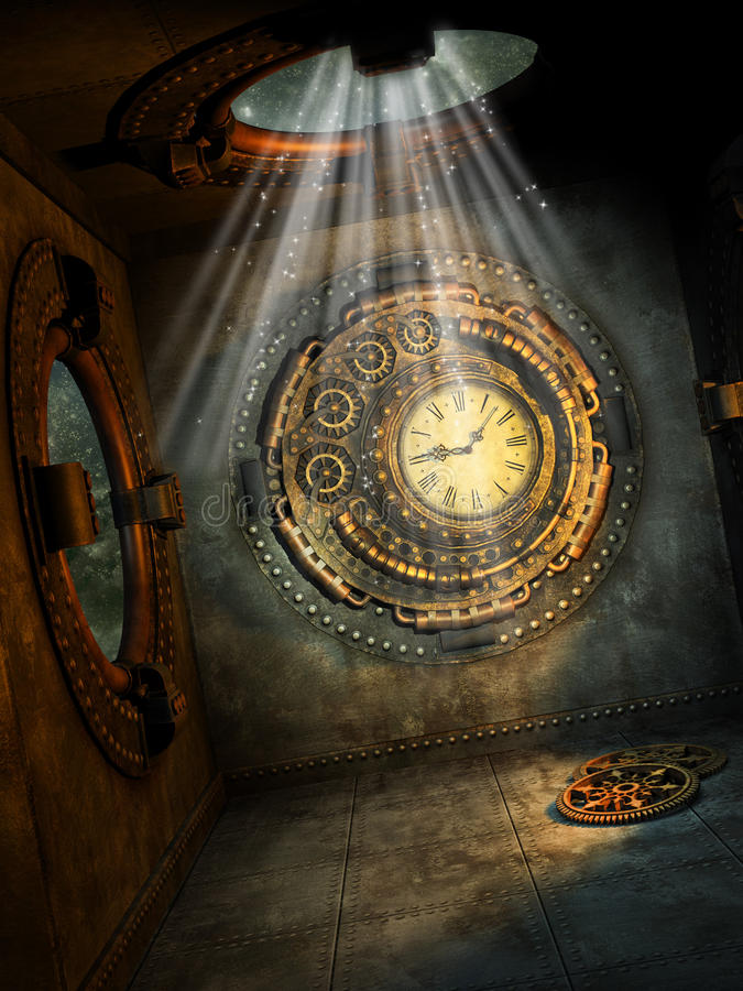 Fantasy scene. With steampunk style in the sky royalty free illustration