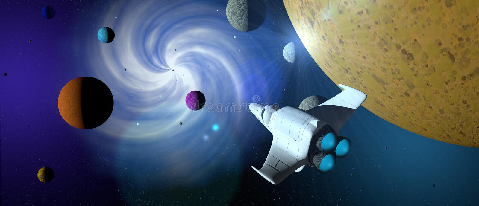 Fantasy scene: White spaceship with turbine lit across the galaxy with planets of different colors around it. vector illustration