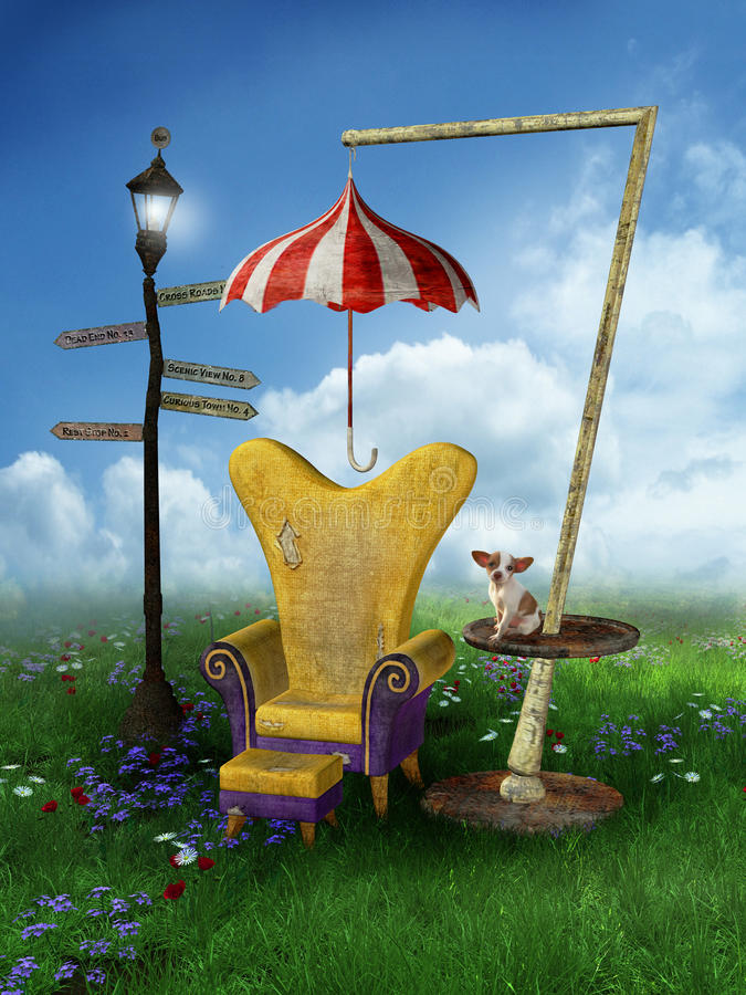Fantasy scenery with a chair. Fantasy meadow with a chair and lantern stock illustration