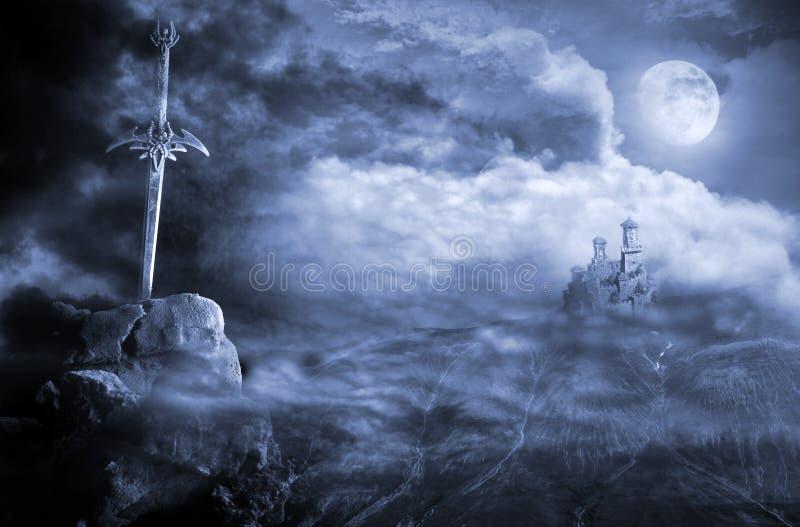 Fantasy scenery with sword stock photo
