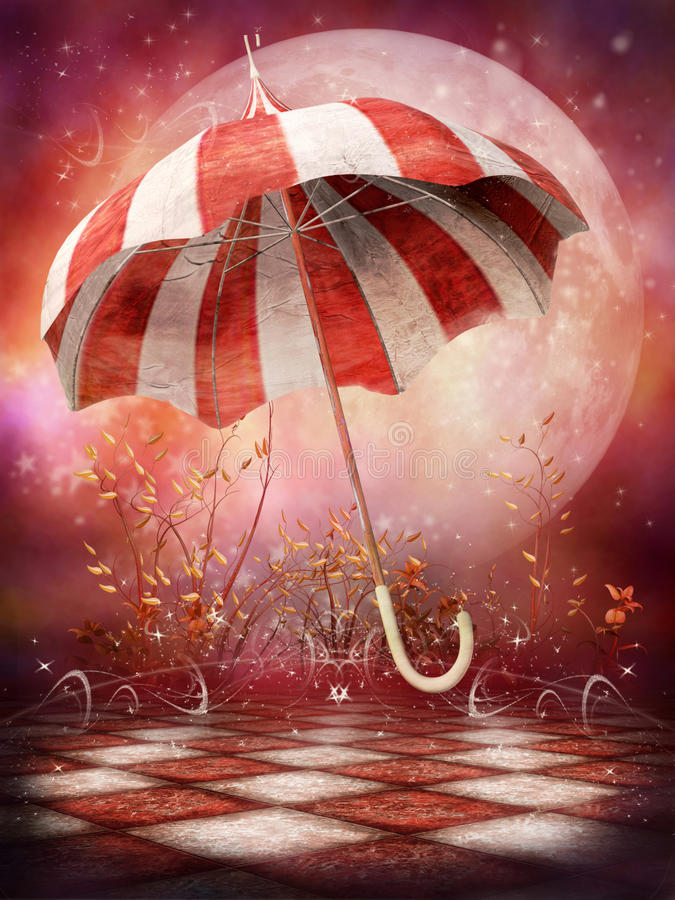 Fantasy scenery with umbrella royalty free illustration