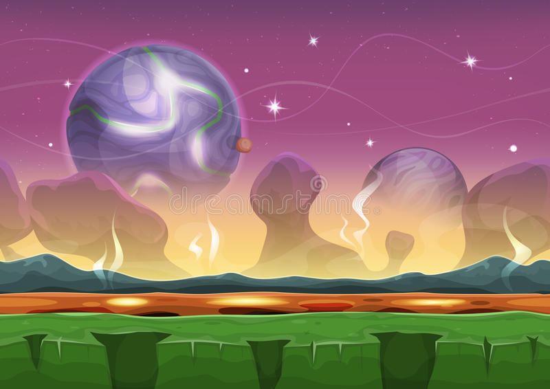 Fantasy Sci-fi Alien Landscape For Ui Game stock illustration