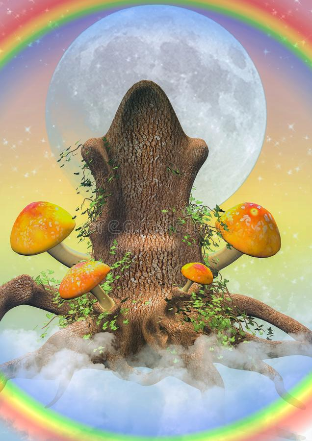 Fantasy seat with mushrooms. Fantasy throne with mushrooms on the sky vector illustration