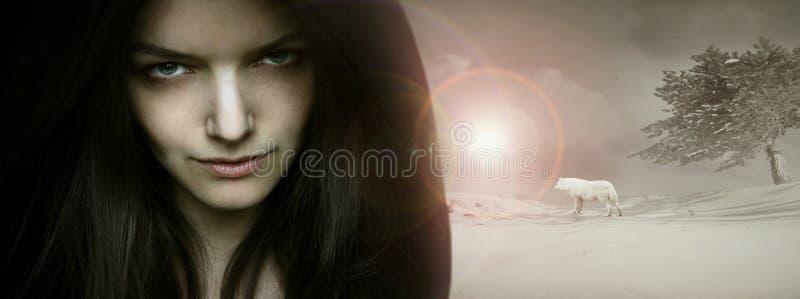 Fantasy seductive portrait. Beautiful seductive young woman model portrait in a fantasy background stock image