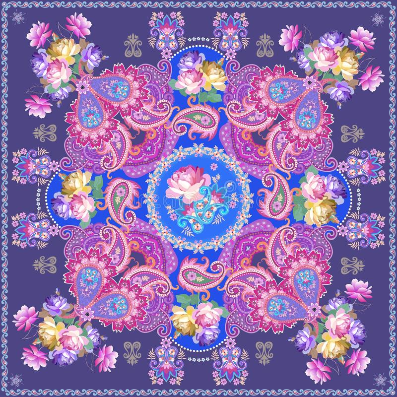 Fantasy shawl with luxury paisley ornament and bunches of roses on blue background. Indian, persian, russian motifs.  stock illustration