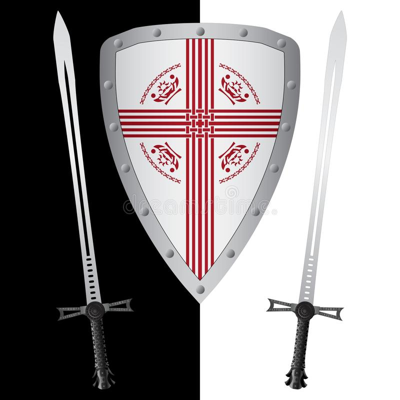 Fantasy Shield And Swords Stock Photos