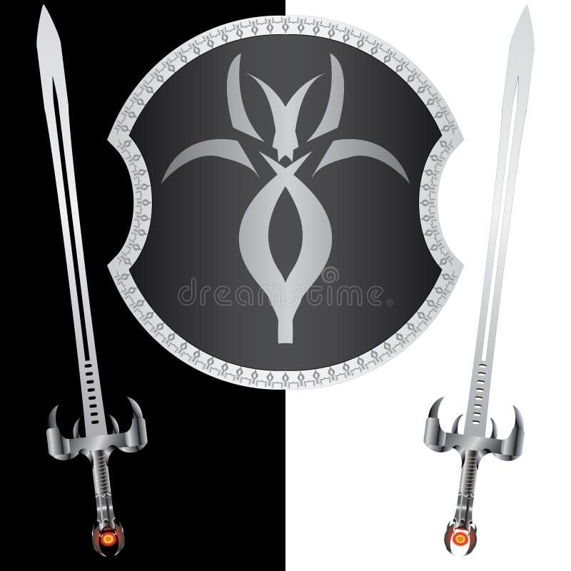 Fantasy shield and swords. Second variant. illustration stock illustration