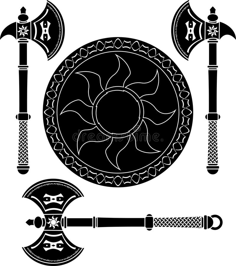 Download Fantasy Shield And Swords Of Vikings Stock Illustration - Illustration: 24661810