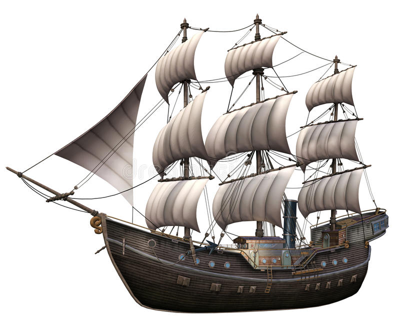 Fantasy ship with white sails royalty free illustration