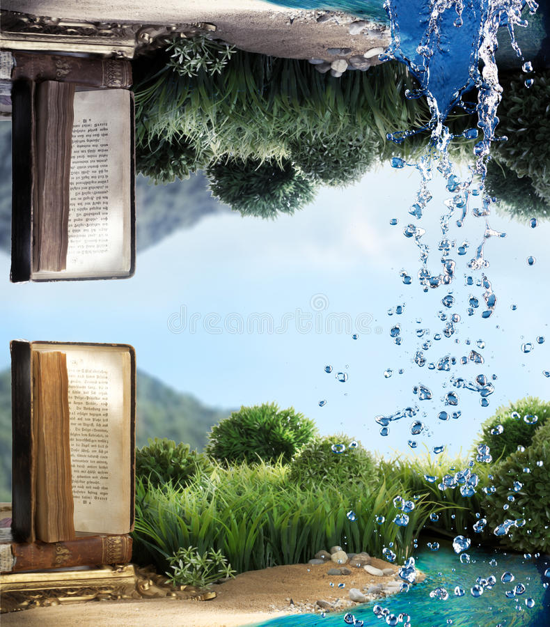 Fantasy Shot of Book by River. With Water Falling stock illustration