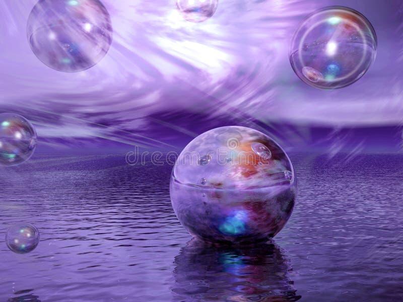 Fantasy Sky. Fantasy Background, Sky, Water, Spheres stock illustration