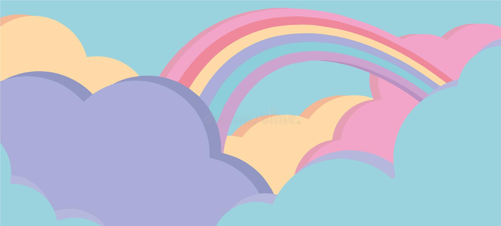 Fantasy sky scene with cute pink and bue clouds and colorful rainbow cartoon style vector background royalty free illustration