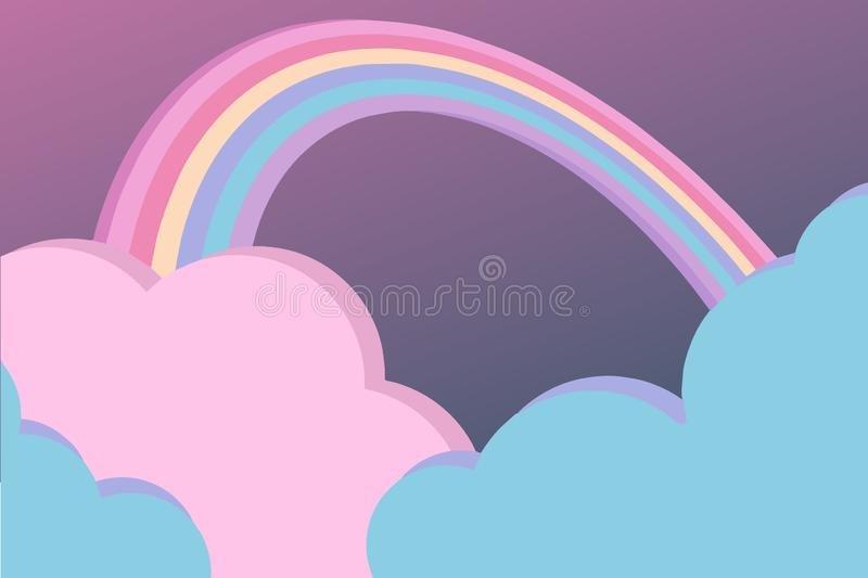 Fantasy sky scene with cute pink and bue clouds and colorful rainbow cartoon style vector background, illustration suitable for ch royalty free illustration