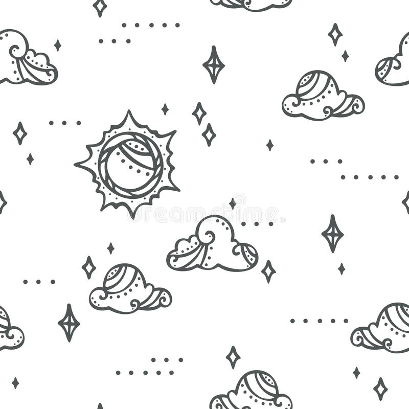 Fantasy Sky Sun Clouds and Stars - cute and modern pattern stock illustration
