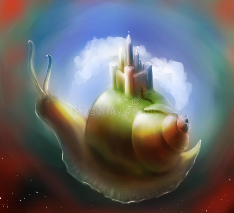Fantasy snail castle stock images