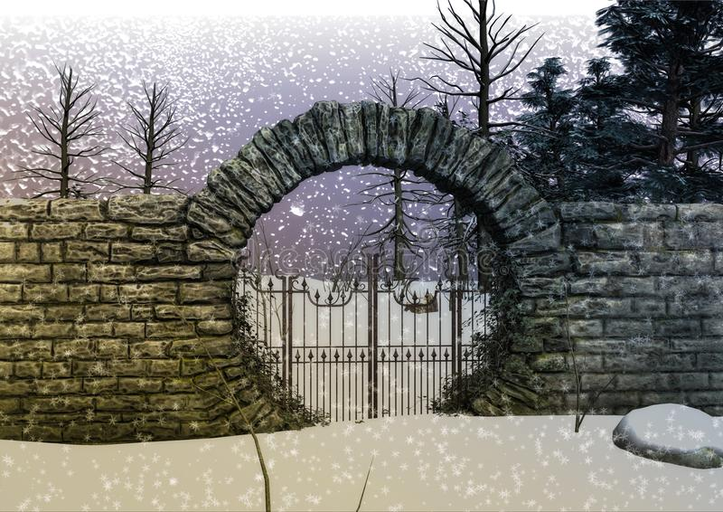 Fantasy snow forest`s gate vector illustration