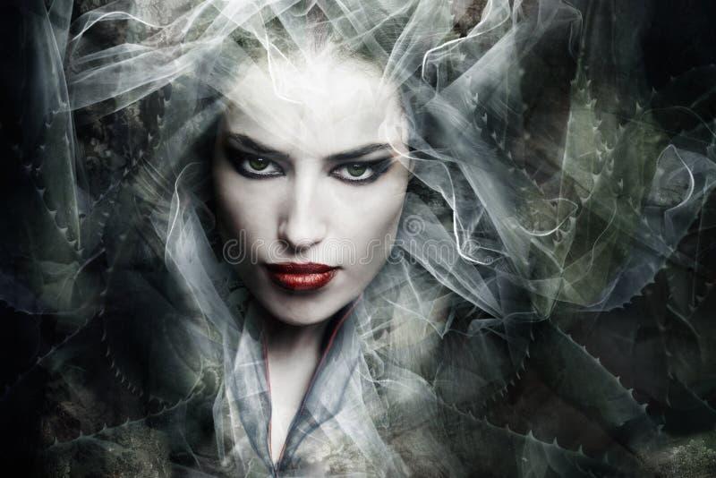 Fantasy sorceress. Dark fantasy sorceress woman, composite photo royalty free stock photo