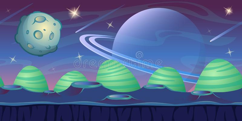 Fantasy space background for UI game. Blue alien landscape background. Vector illustration vector illustration
