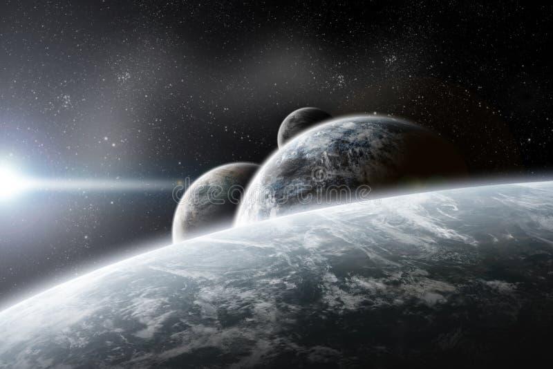 Fantasy space planets illustration stock illustration
