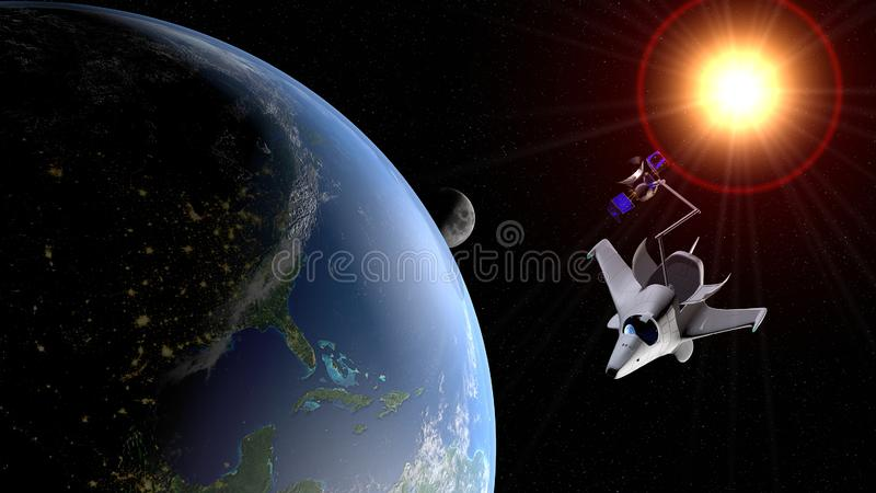 Fantasy space shuttle placing in the orbit of planet Earth a communications satellite with the moon and the sun in the background. royalty free illustration