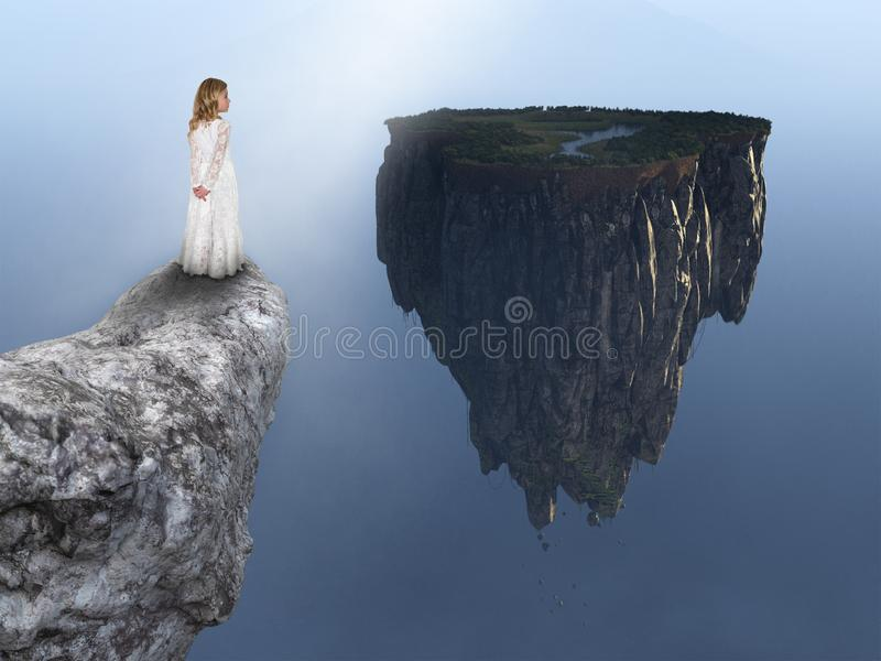 Fantasy, Spiritual Rebirth, Nature, Peace, Hope. A young girl stands on a rocky ledge on the edge of a cliff and looks at a fantasy floating island landscape stock photos
