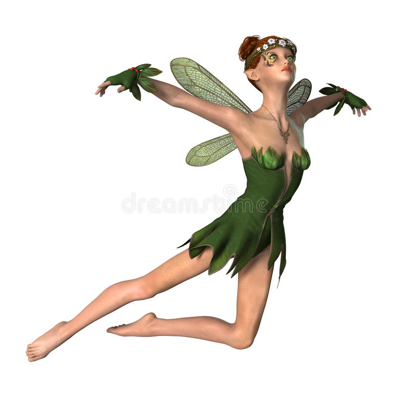 Fantasy Spring Fairy. 3D digital render of a green fantasy spring fairy isolated on white background royalty free illustration