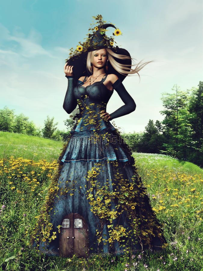 Fantasy spring woman stock illustration
