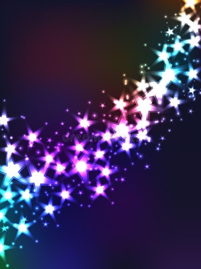 Fantasy star drop. Illustration abstract falling fantasy stars colorful background stock illustration