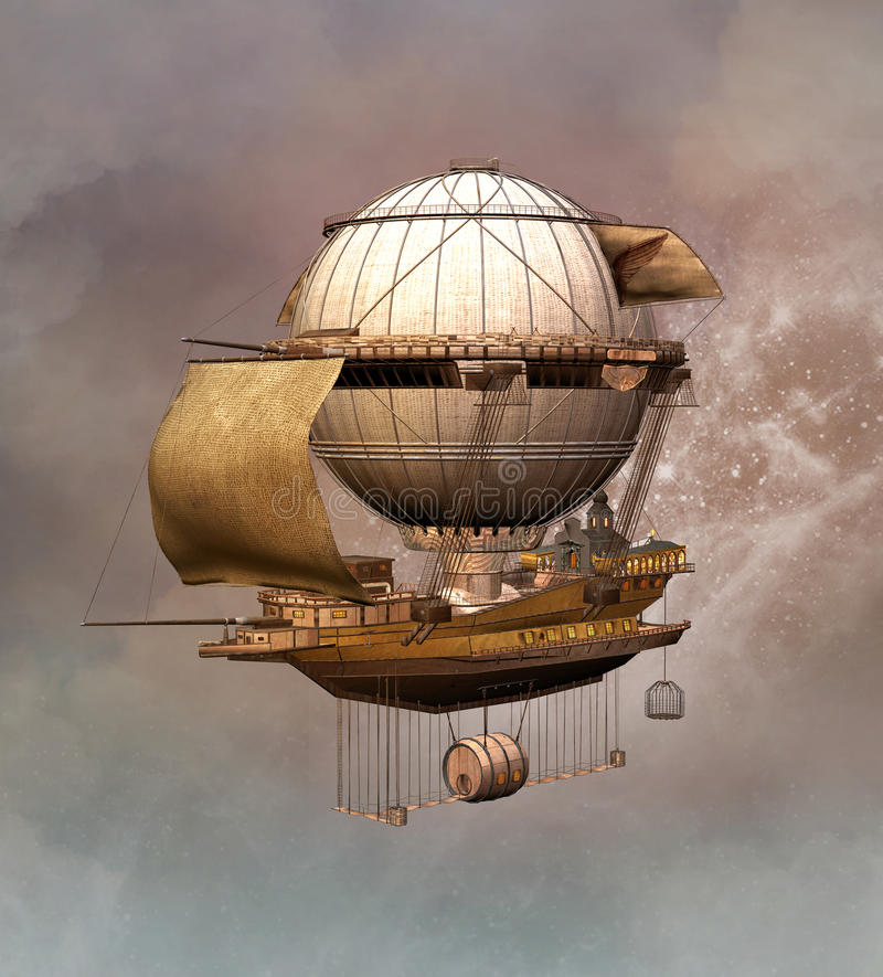 Free Fantasy Steampunk Airship Stock Photos - 85826183