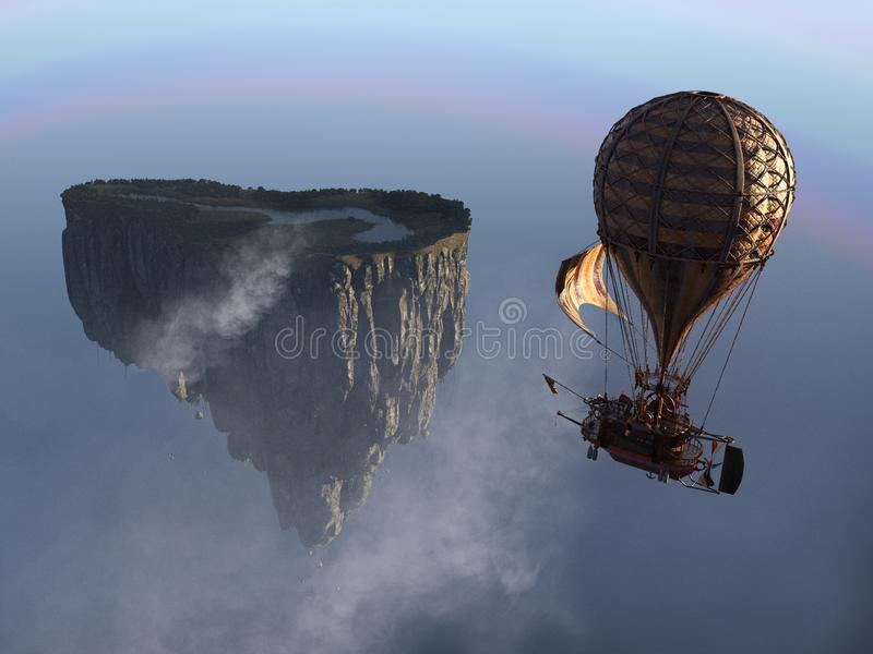Fantasy Steampunk Floating Island Balloon. Steampunk hot air balloon flying through the sky to a floating rock island. Surreal fantasy landscape background scene stock photography