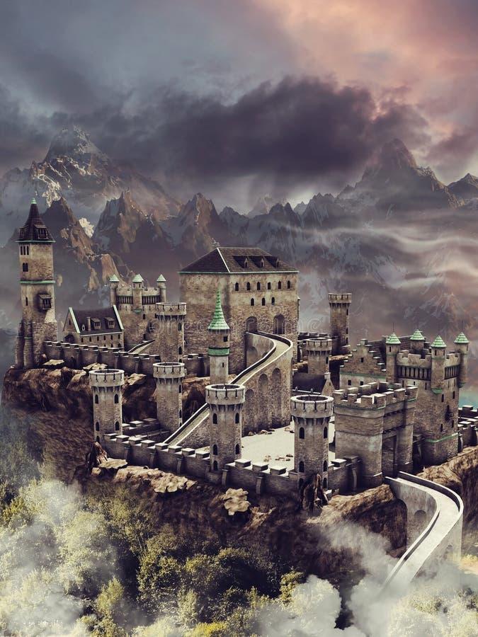 Fantasy stone castle vector illustration