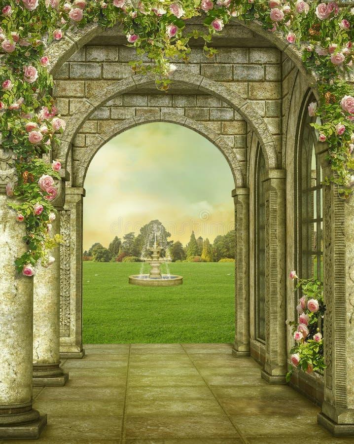 Fantasy stone gallery. Photomanipulation, illustration royalty free illustration