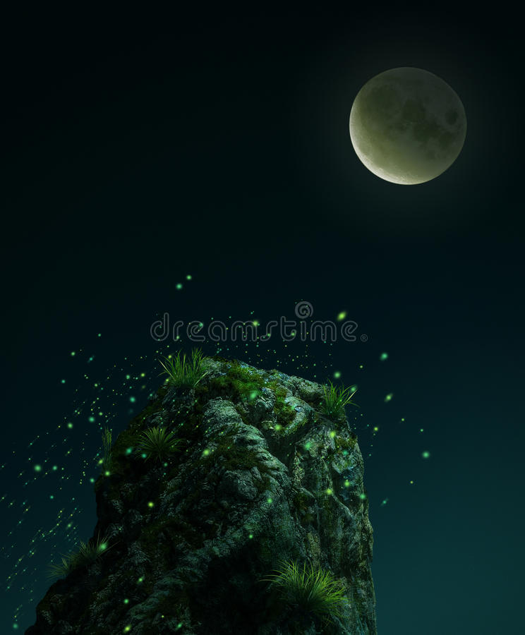 Fantasy stone in the mooon light. 3D rendering royalty free illustration