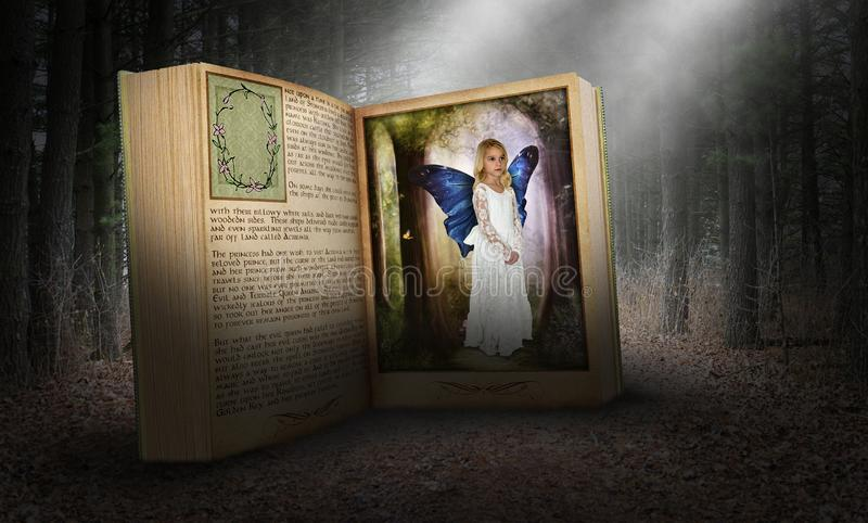 Fantasy Story Book, Imagination, Peace, Nature, Spiritual Rebirth. A young girl uses her imagination to be in a story book. The storybook is in the deep dark stock photo