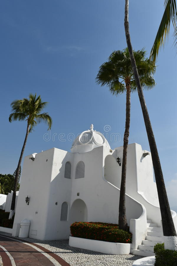 Fantasy Suite at Las Hadas Resort. Moorish style architecture and cobblestone streets with plazas and fountains is a hallmark of Las Hadas Resort in Manzanillo stock images