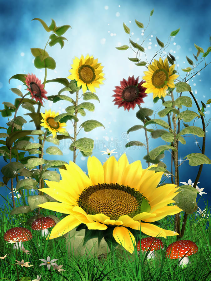 Download Fantasy sunflowers stock illustration. Image of green - 26395901