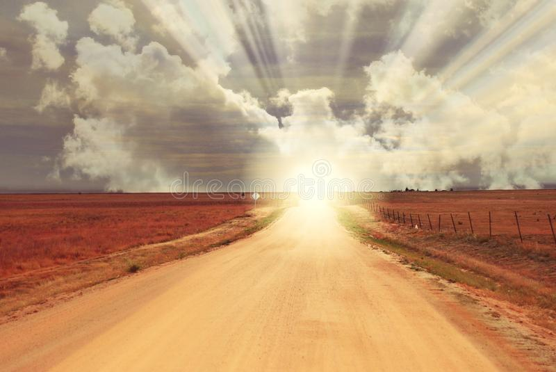 Fantasy Sunrise Sunset at the end of Dirt Road - Horizon royalty free stock photos