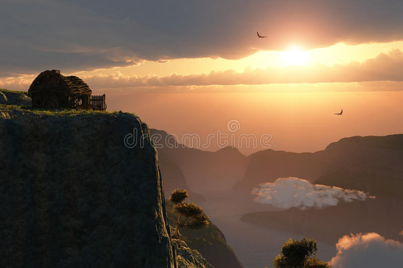 Fantasy sunset on canyon edge. 3d royalty free stock photography