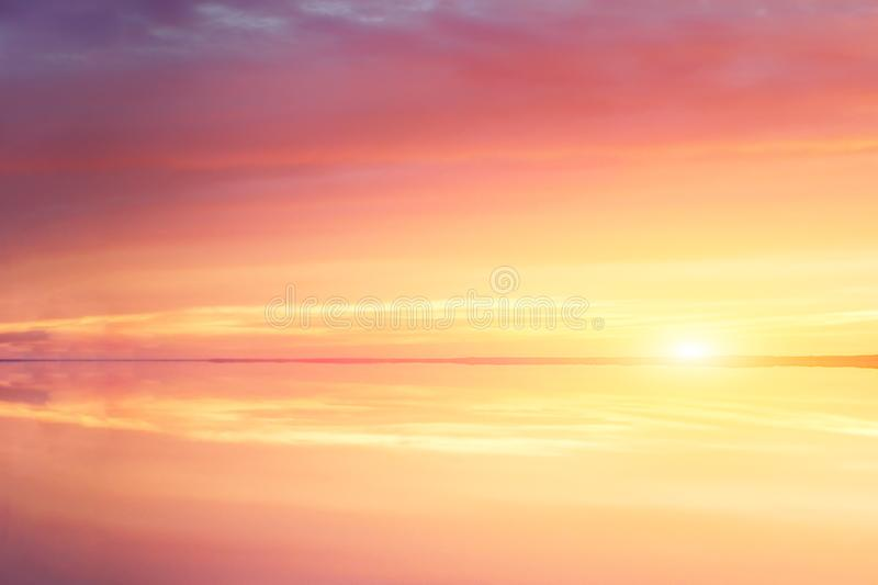 Fantasy sunset lake sunshine sunrise, great design for any purposes. Beautiful autumn nature. Summer sunset. Vacation, summer. royalty free stock photography