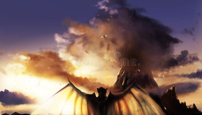 Fantasy sunset landscape with mountains & demons. Fantasy illustration of a sunset mountain landscape with flying and standing demons with wings vector illustration