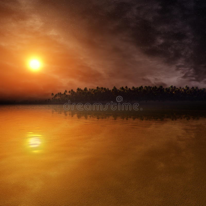 Fantasy Sunset On Tropical Environment stock illustration