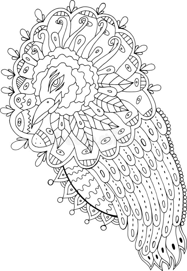 Fantasy surreal bird. Coloring page for adults. Fantastic ink drawing. Vector illustration.  stock illustration