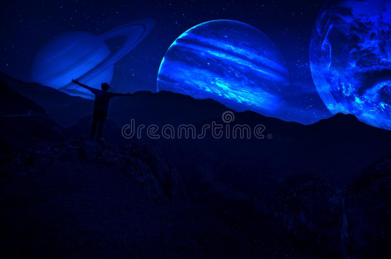 Fantasy surreal concept. Scenic night landscape of country road at night with giant planet at night sky royalty free stock images