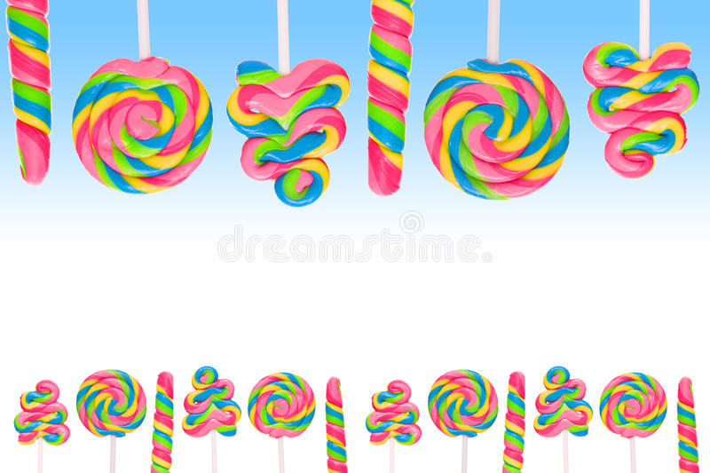 Fantasy sweet candy land with lollies. On blue background royalty free illustration