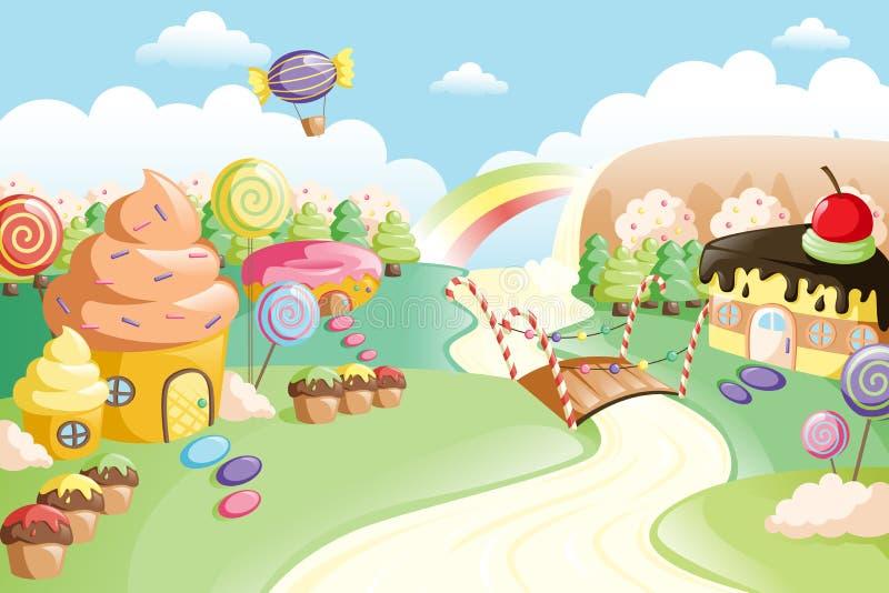 Fantasy sweet food land stock illustration