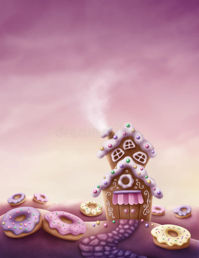 Fantasy sweet land vector illustration