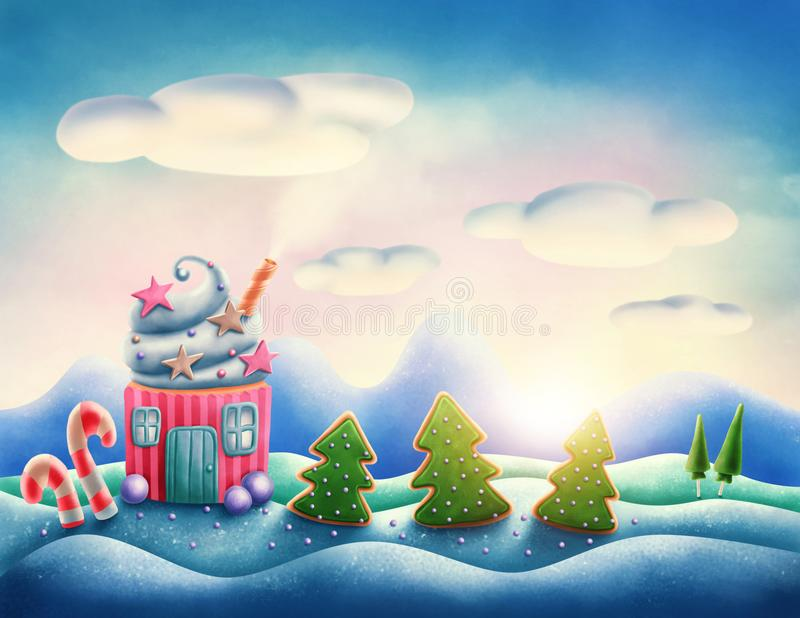 Fantasy sweet land. In winter royalty free illustration