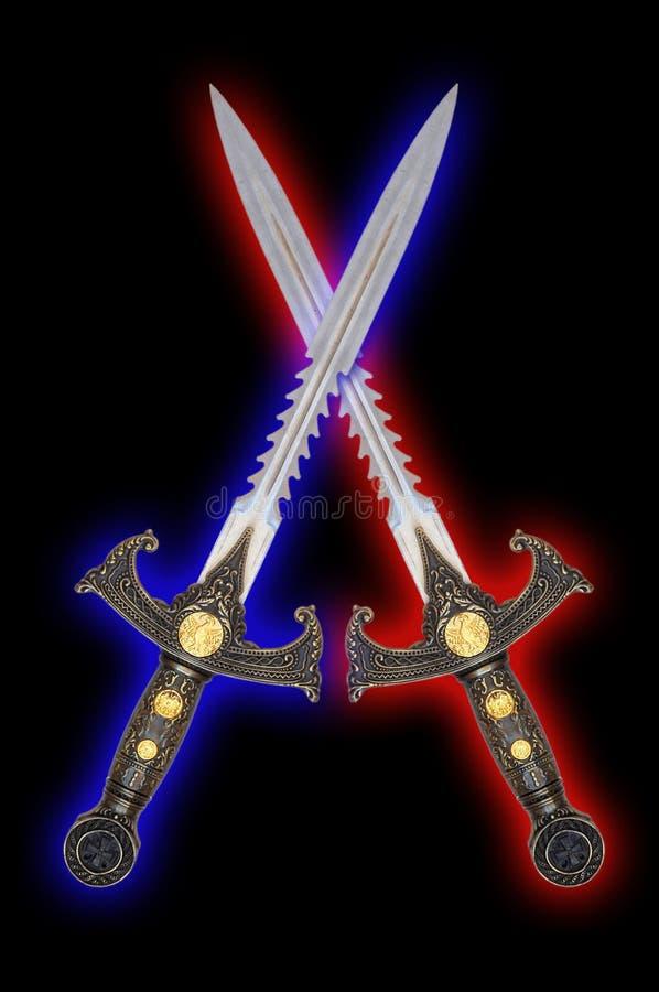 Fantasy swords. Medieval fantasy crossed swords over black stock images